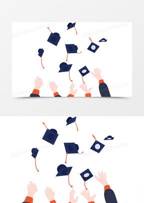 毕业季我们毕业了学士服卡通手绘留开心