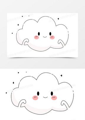 可爱元素手绘小云朵可爱表情卡通装饰