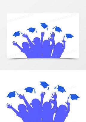 毕业季青春再见剪影手绘卡通男孩女孩学士帽