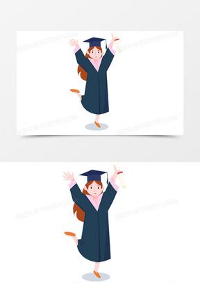 毕业季青春再见手绘卡通学士服女孩欢呼
