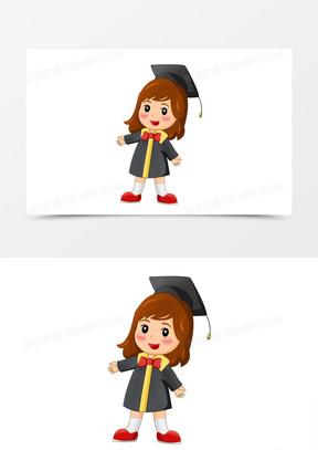毕业季之手绘卡通身穿学士服毕业生