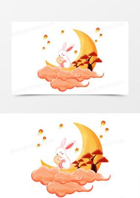 中秋之手绘卡通月亮的上的玉兔