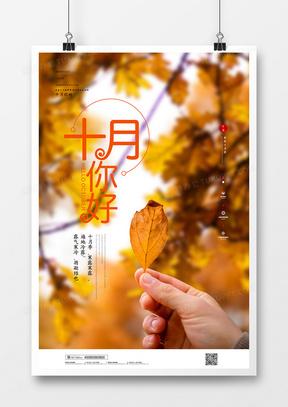 简约大气摄影图合成十月你好秋天宣传海报