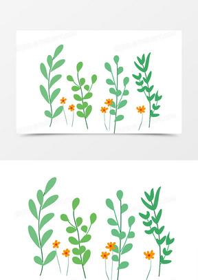 手绘小花植物花边素材元素