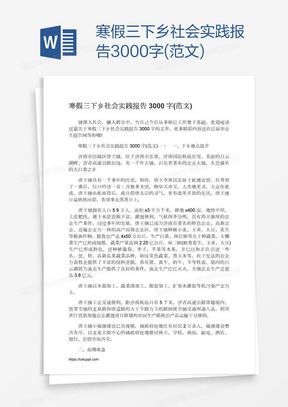 寒假三下乡社会实践报告3000字(范文)