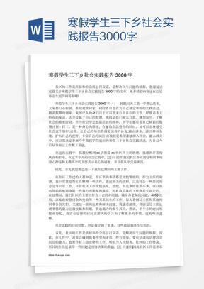 寒假学生三下乡社会实践报告3000字