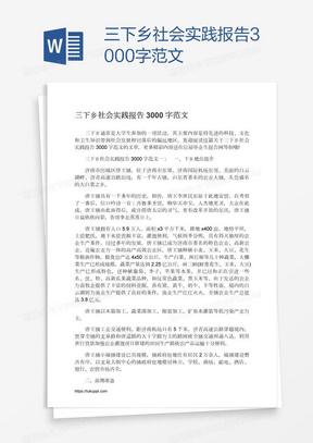 三下乡社会实践报告3000字范文
