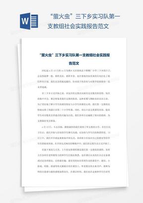 """""""萤火虫""""三下乡实习队第一支教组社会实践报告范文"""