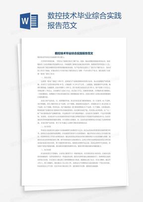 数控技术毕业综合实践报告范文