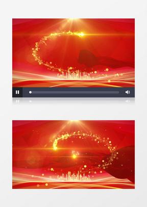 大气红色背景金色建筑剪影红绸飞舞舞台背景中美亚洲欧美综合在线