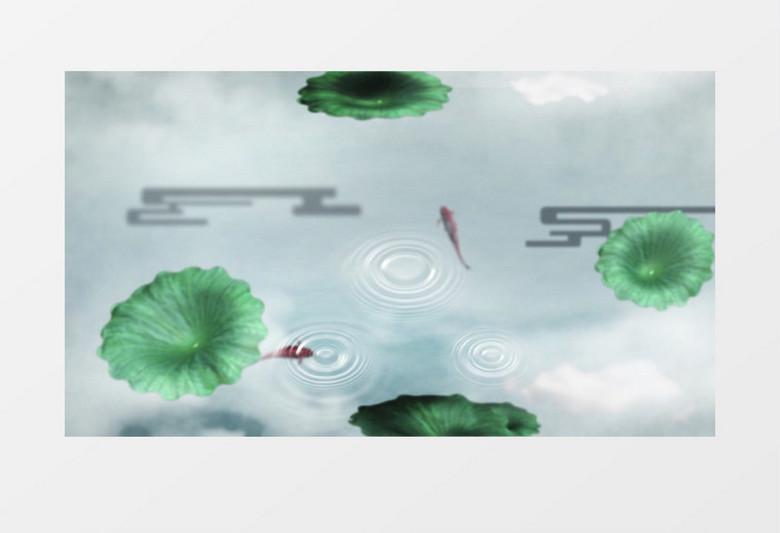 唯美泼墨竹叶飘动泼墨流水金鱼背景视频视频素材下载