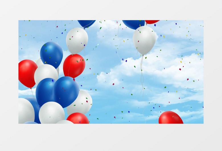 蓝天白云气球放飞动画背景视频素材