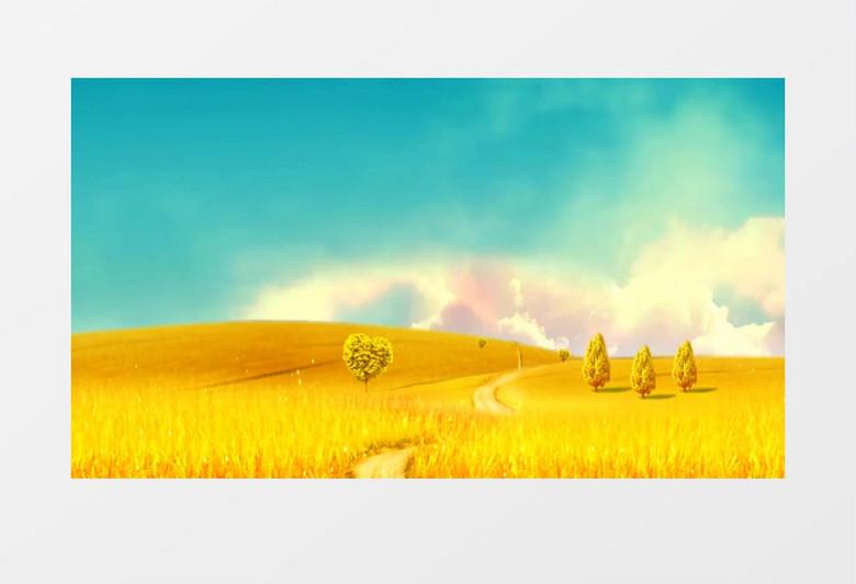 动画动态唯美金色麦田麦浪背景视频素材