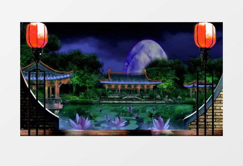 动画动态夜晚古代庭院背景视频素材