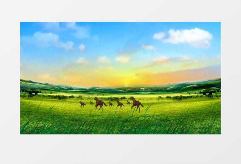 动画动态蒙古草原天地马群奔跑(有音乐)背景视频素材