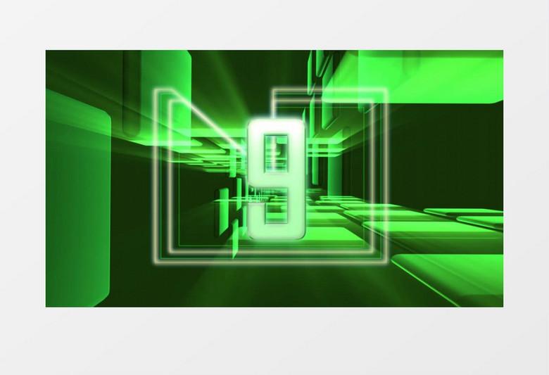 视频模板 背景视频 绿色科学智能化数字倒计时视频素材