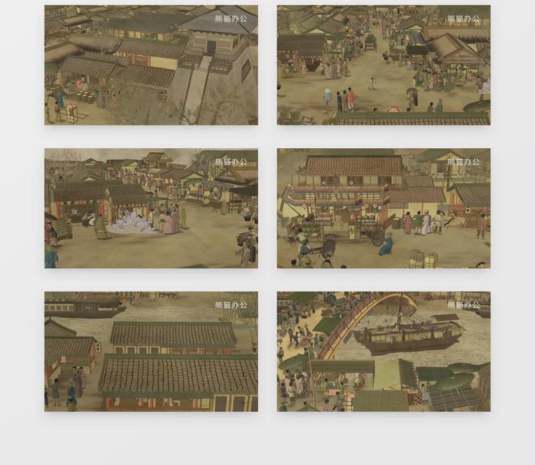动画动态清明上河图 有音乐 背景视频素材下载 mov格式 1920 1080像素