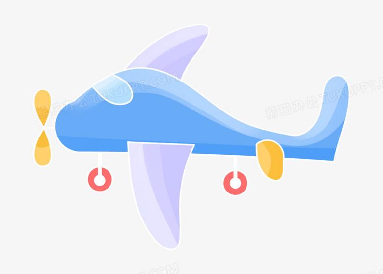 手绘风卡通儿童六一飞机元素