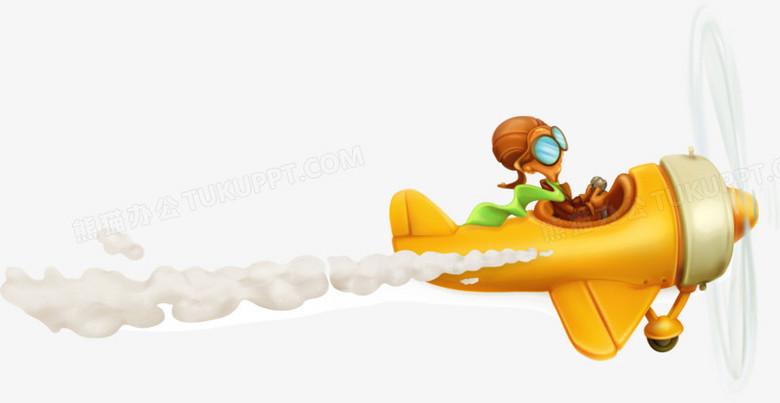 矢量卡通可爱飞机飞行员素材