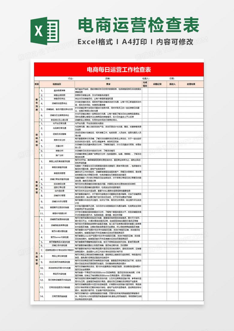 淘宝店铺上传图片教程_电商每日运营工作检查表Excel模板下载_运营_【熊猫办公】