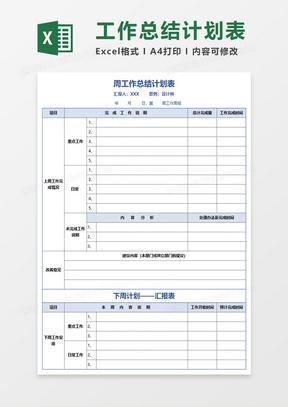 会计人员周工作总结_工作总结Excel表格模板下载_精品工作总结Excel表格大全_熊猫办公