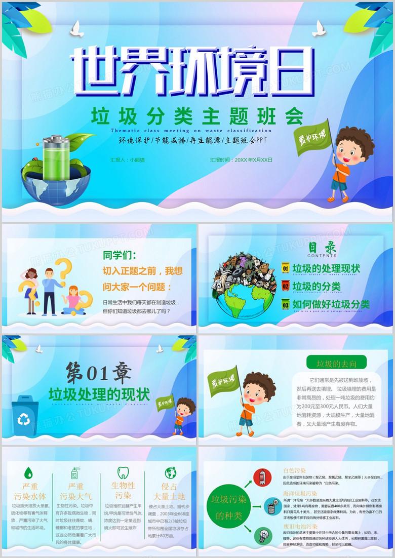 绿色环保宣传垃圾分类主题班会课PPT模板