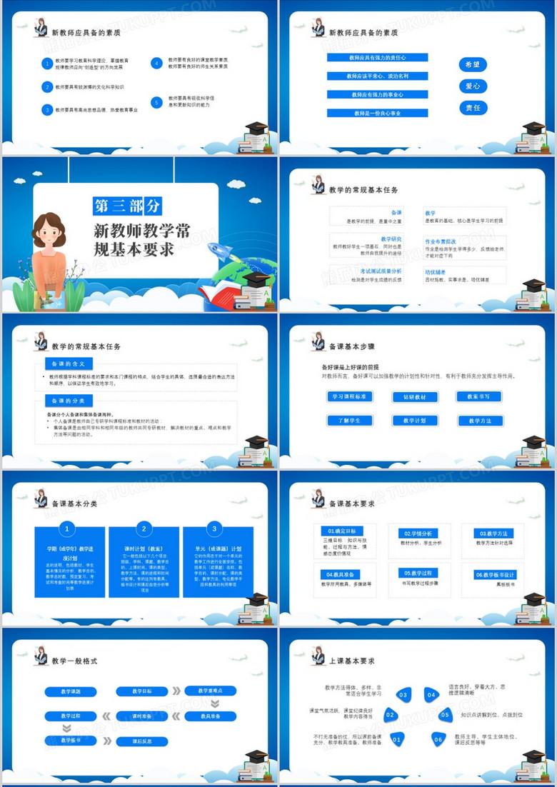 蓝色卡通新教师入职培训课件PPT模板no.2