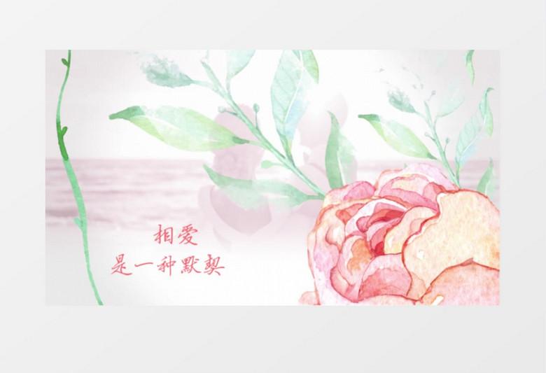 唯美手绘花卉婚礼爱情开场片头视频幻灯片展示AE模板