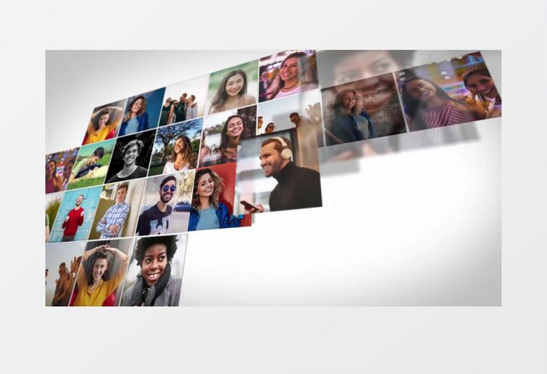 多个图像以小方格的形式拼贴组合在一起模板AE模板